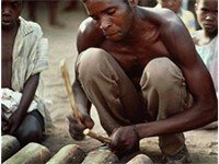 A man in Malawi playing a traditional musical instrument.