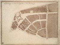 Lower Manhattan in 1660, when it was part of New Amsterdam. The large structure toward the tip of th