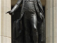 J.Q.A. Ward's statue of George Washington in front of Federal Hall, on the site where Washington was