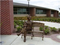 A statue of Mark Twain at Mark Twain Elementary School in the Braeswood Place neighborhood of Housto