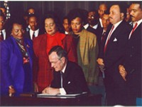 George H. W. Bush signs Martin Luther King Jr. Day Proclamation