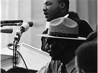 "King is perhaps most famous for his ""I Have a Dream"" speech, given in front of the Lincoln Memorial"