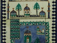 Panel representing the mosque of Medina (now in Saudi Arabia). Found in İznik (Turkey), 18th century
