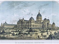 Lithograph of the Royal Exhibition Building (now a World Heritage site) built to host the World's Fa
