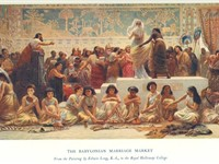 The Babylonian marriage market, in the Royal Holloway College.