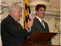 Phelps (right) with the Speaker Mike Busch of the Maryland House of Delegates (Annapolis, April 9, 2
