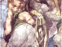 Michelangelo's The Last Judgment. Saint Bartholomew is shown holding the knife of his martyrdom and