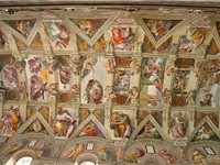 Michelangelo painted the ceiling of the Sistine Chapel; the work took approximately four years to co