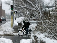 Bicyclist in winter