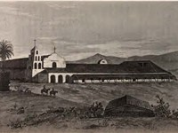 "A painting of Mission San Diego de Alcalá as it appeared in 1848 depicts the original campanario (""b"