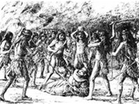 An illustration depicts the brutal death of Father Luís Jayme by the hands of angry natives at Missi