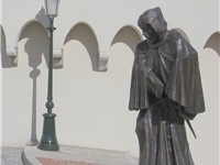 "Statue of Fran ois Grimaldi, ""il Malizia"" (""the Shrewd""), guised as a monk with a sword under his fr"