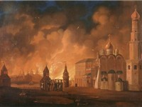 French invasion of Russia in 1812, Fire of Moscow, painting of Smirnov A.F., 1813