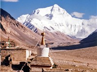 Rongbuk Monastery in Tibet with the north side of Everest in the background.