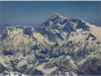 Another aerial view of Mount Everest from the south, with Lhotse in front and Nuptse on the left