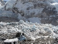 A view of Everest southeast ridge base camp. The Khumbu Icefall can be seen in the left. In the cent