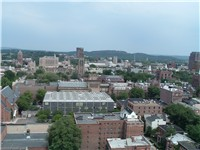 Aerial view of downtown New Haven, looking toward East Rock