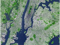 Satellite image showing the core of the New York metropolitan area. Over 10 million people live in t