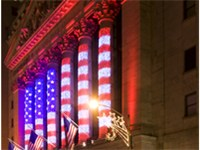 The New York Stock Exchange on Wall Street is the largest stock exchange in the world by dollar volu