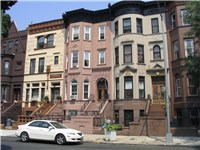 Brownstone rowhouses in Bedford-Stuyvesant, Brooklyn