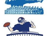 "Two of the Giants ""Giant Quarterbacks"" logos; primary logo 1956--60 (top), and secondary logo 2000-c"