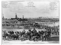 Benin city in the 17th century with the Oba of Benin in procession. This image was pictured in a Eur