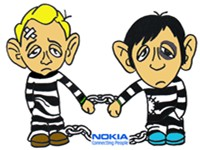 A cartoon about Nokia's provision of intercept capability to Iran and people who were arrested in Ir