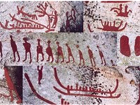Bronze Age rock carvings from H ljesta, V stmanland province, Sweden. The carvings have been painted