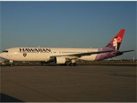 Hawaiian Airlines was the official carrier for the Raiders. This Hawaiian Boeing 767 wears the Raide