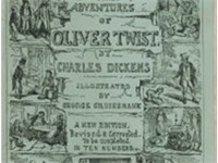 "Cover, first edition of serial, entitled ""The Adventures of Oliver Twist"" January 1846 Design by Geo"