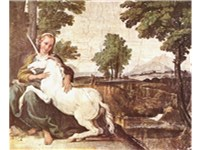The Virgin and The Unicorn, probably by Domenichino, ca 1602