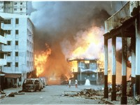 Aftermath of urban warfare during the U.S. invasion of Panama.