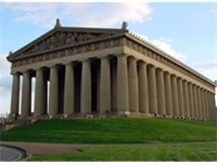 The Parthenon in Nashville, Tennessee, USA is a full-scale replica of the original Greek Parthenon.