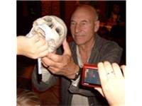 Patrick Stewart signing autographs following a production of Hamlet at the RSC in July 2008.