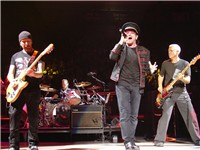 U2 performing at Madison Square Garden in November 2005.