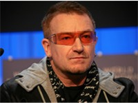 Bono at the World Economic Forum meeting in Davos, 2008.