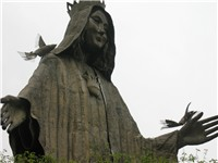 A statue of the Virgin Mary was built on the EDSA Shrine, after the People Power Revolution.