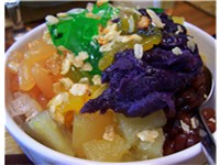 The Halo-halo is a dessert made of ice, milk, various fruits, and ice cream.