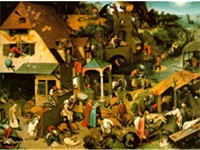 Netherlandish Proverbs, 1559, with peasant scenes illustrating over 100 proverbs