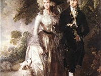 Portrait of Mr and Mrs William Hallett by Thomas Gainsborough, 1785. A larger Pomeranian of the olde
