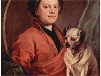 Hogarth with his Pug, Trump, in 1745.