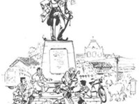 Illustration of Lawley Statue, Malgudi by R. K. Laxman