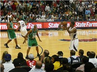 Allen guards Joe Johnson of the Atlanta Hawks in Game 4 of the 2008 NBA Playoffs.