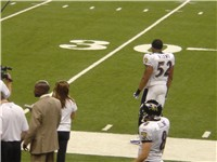 Lewis roaming the sidelines in a 2005 game at Ford Field