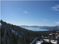 View of Lake Tahoe from a Diamond Peak ski lift