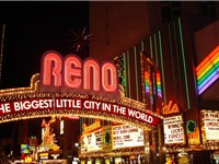 Downtown Reno, including the city's famous arch over Virginia Street.