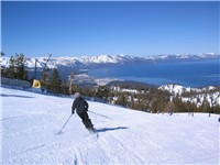 Winter Ski slopes overlooking Lake Tahoe