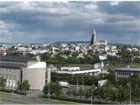 Panorama of central Reykjavík from the Saga hotel