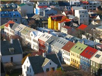 Colorful rooftops line Reykjavík