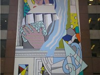 Roy Lichtenstein's Mural with Blue Brushstroke, in the atrium of the AXA Center, New York